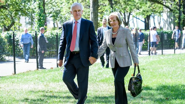 Prime Minister Malcolm Turnbull and his wife Lucy walk through Battery Park in NYC. Picture: Jake Nowakowski