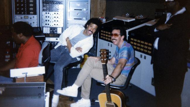 Louie Shelton in the recording studio with Lionel Richie. Picture: Courtesy Louie Shelton