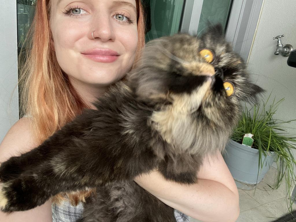 With international borders closed, her most recent cat sit was in Darwin, and she plans to travel to Tasmania in future. Picture: Madolline Gourley