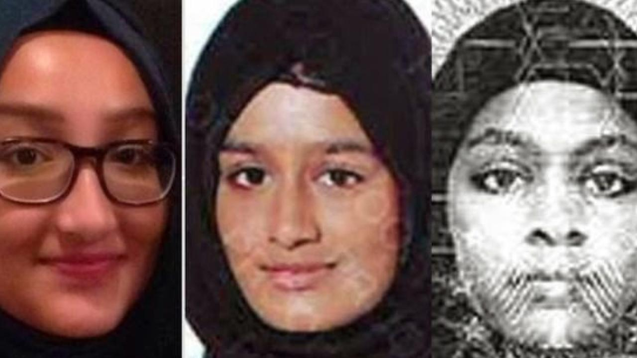 (L-R) British teenagers Kadiza Sultana, 16, Shamima Begum, 15, and Amira Abase, 15, were known as the Bethnal Green schoolgirls. Picture: Met Police.