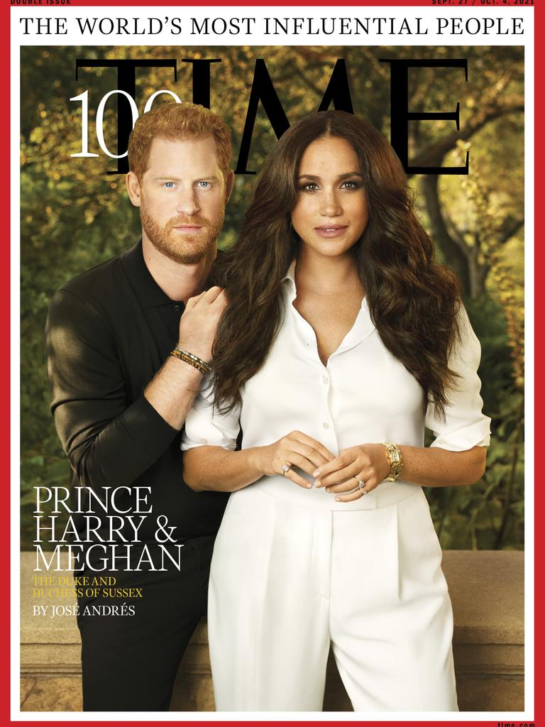 Prince Harry and Meghan Markle appear on the cover of Time magazine's 100 most influential people issue. Picture: Pari Dukovic/Time.