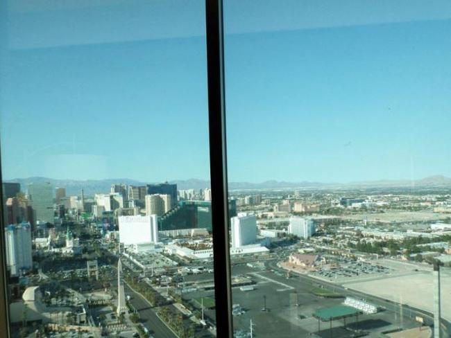 The view from inside Stephen Paddock's hotel room. Picture: Supplied