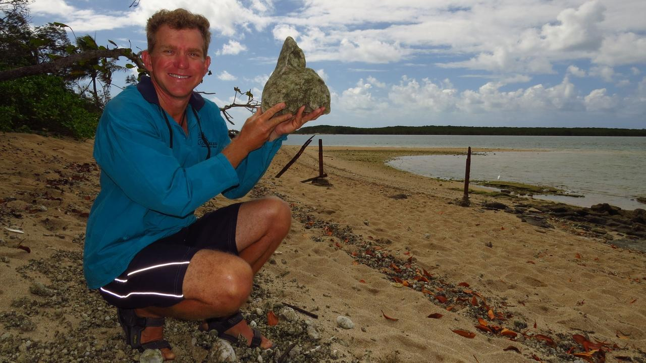 Wayne Fox with washed up Pumice from New Zealand underwater volcanic eruption