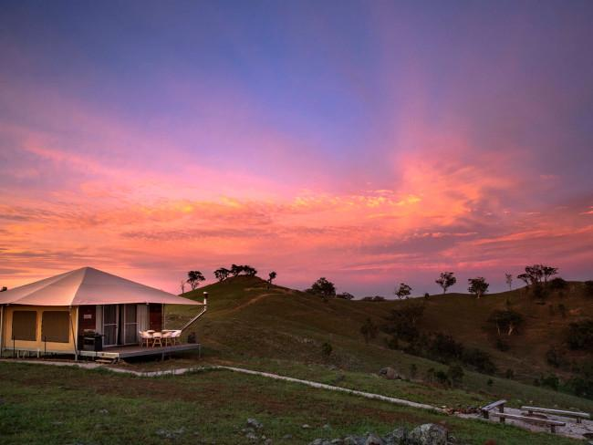 The award-winning glamping tents at Sierra Escape, Piambong are located a short distance from Mudgee, and are well insulated in winter. It's a beautiful spot to relax and see Australian wildlife after a day of wine tasting in the region. Picture: Destination NSW
