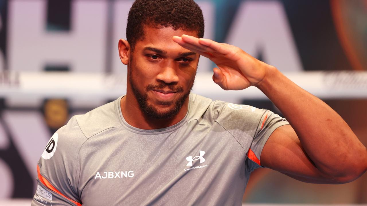 Anthony Joshua salutes during ahead of the WBA, WBO, IBF and IBO World Heavyweight Title fight with Oleksandr Usyk.