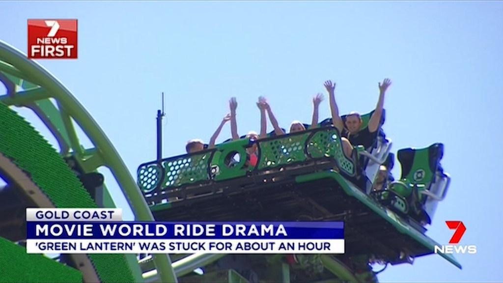Green Lantern ride stuck at Movie World on Gold Coast