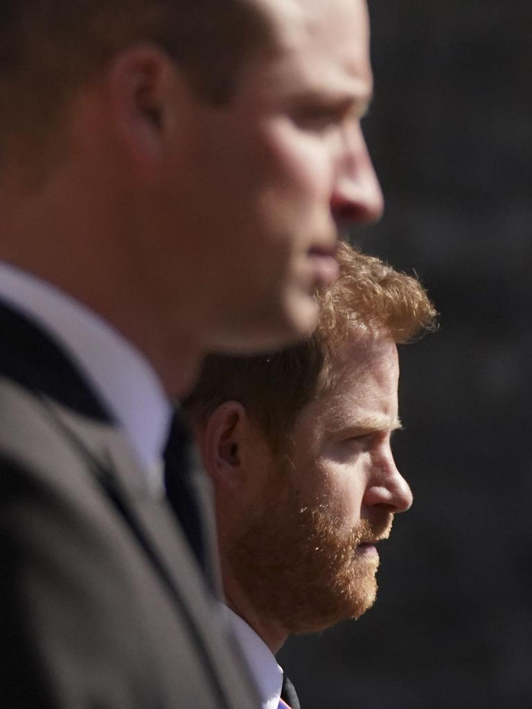 William and Harry walk in the funeral procession. Picture: Victoria Jones/ AFP