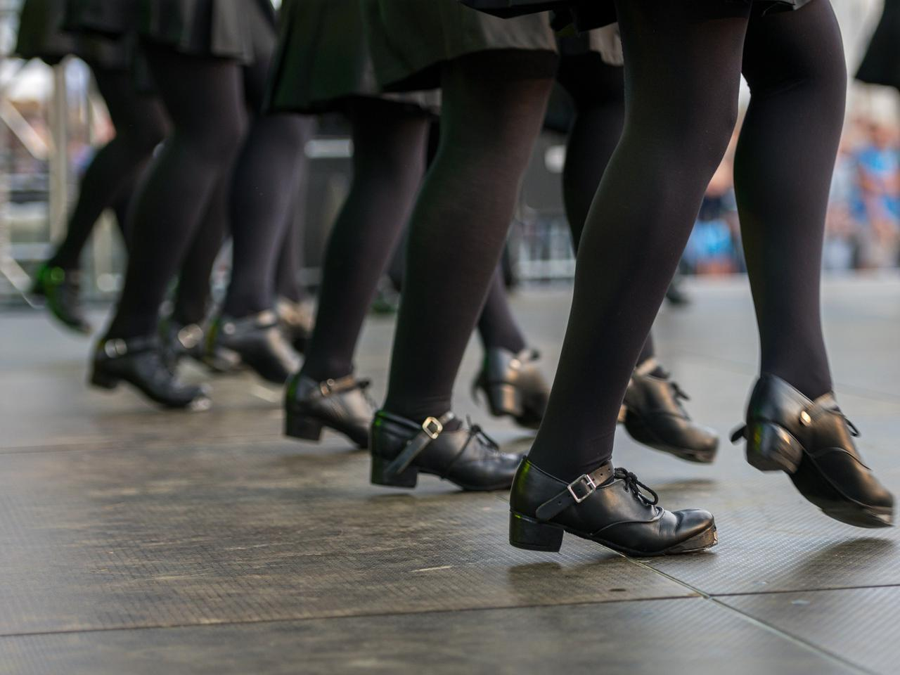 Irish folk dance in contemporary Irish black shoes