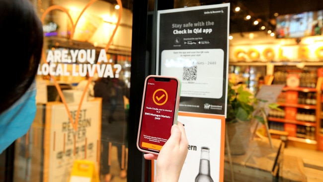 Customers will be required to check in to store via Check In Queensland or face serious penalties from July 9. Picture: NCA/David Clark