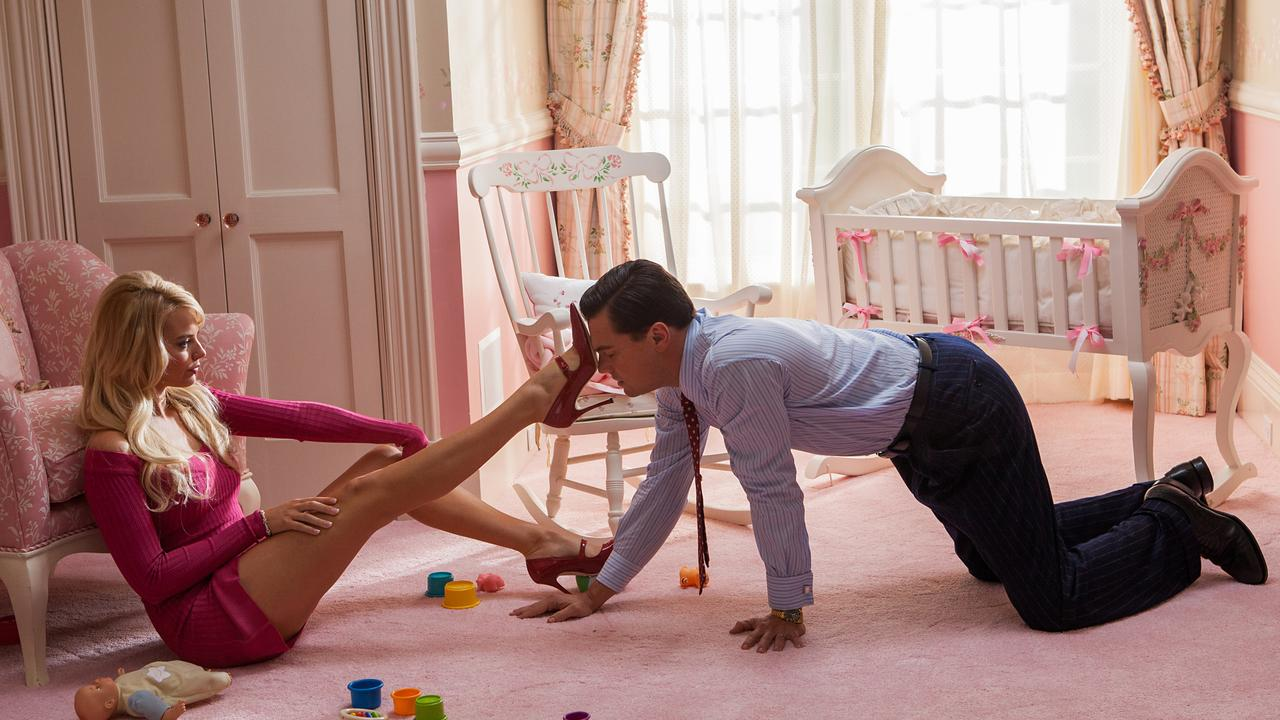 Margot Robbie and Leonardo DiCaprio in a scene from Wolf of Wall Street.
