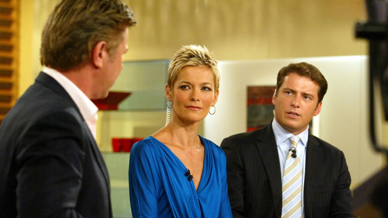 Jessica Rowe rehearsing for her first day on the Today show with co-host Karl Stefanovic (right) and entertainment reporter Richard Wilkins.