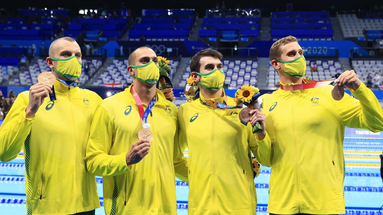 The Australian 4x200m Men's Relay team including Kyle Chalmers, Alexander Graham, Zac Incerti and Thomas Neill win Bronze at the Tokyo Aquatic Centre at the 2020 Tokyo Olympics.
