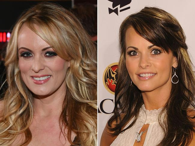 Adult film actress/director Stormy Daniels (L) and ex-Playboy playmate Karen McDougal.  Picture:  AFP