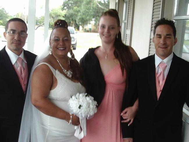 Amanda Willis (second from right) reportedly ruined her best friend's wedding. Picture: Facebook/David Butler
