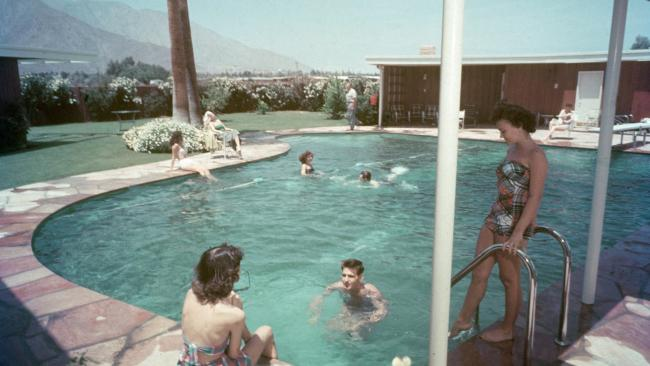 The piano-shaped swimming pool at Twin Palms, the estate belonging to American singer and actor Frank Sinatra.