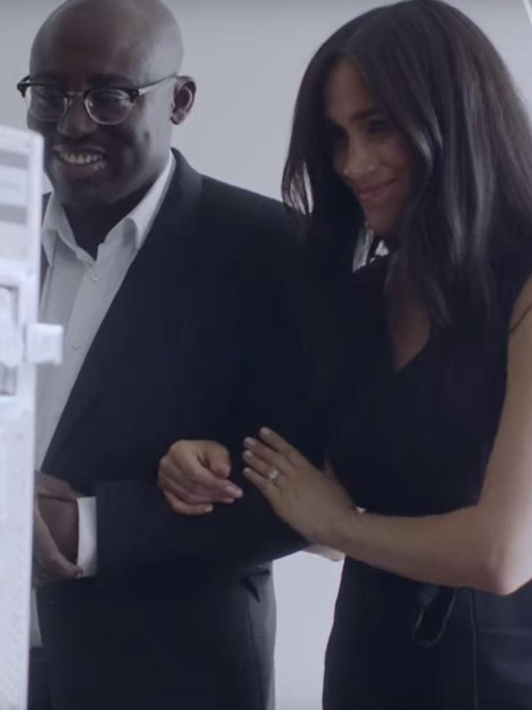 Behind the scenes video grabs of Meghan Markle, Duchess of Sussex, guest editing British Vogue. Picture: Vogue