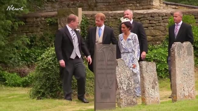Meghan Markle and Prince Harry at his cousin's wedding