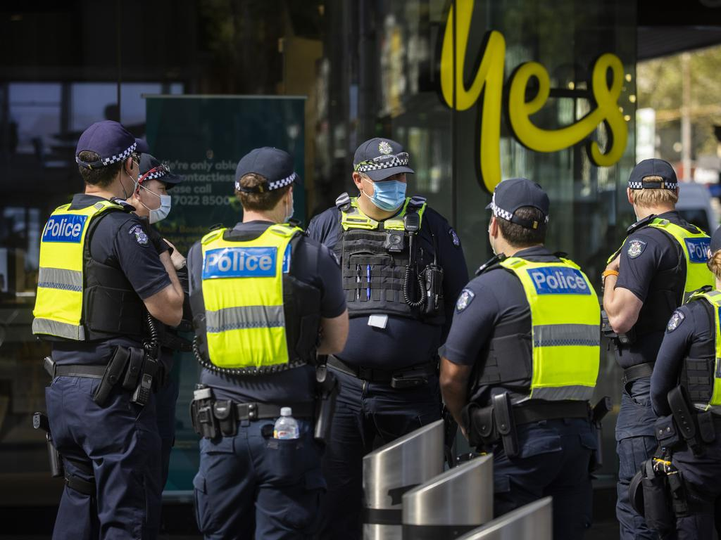 Police are out and about on the streets of Melbourne, checking compliance, on Sunday. Picture: NCA NewsWire / Paul Jeffers