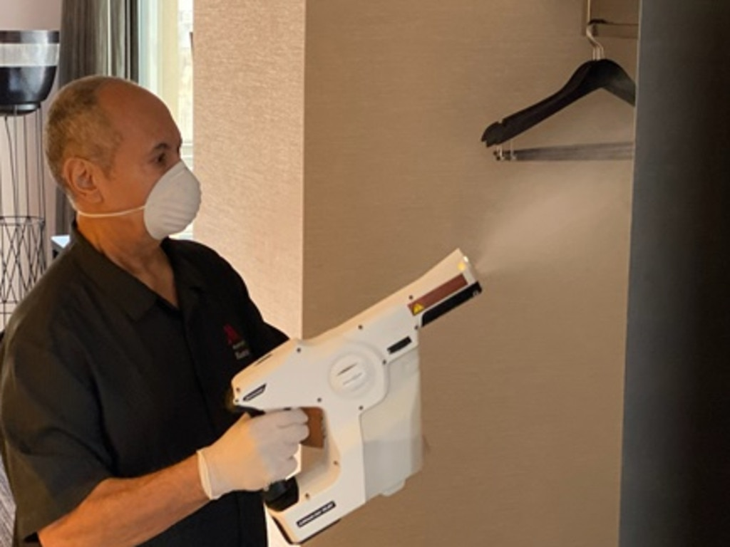 "The ""sanitisation gun"" has been introduced at Marriott hotels."