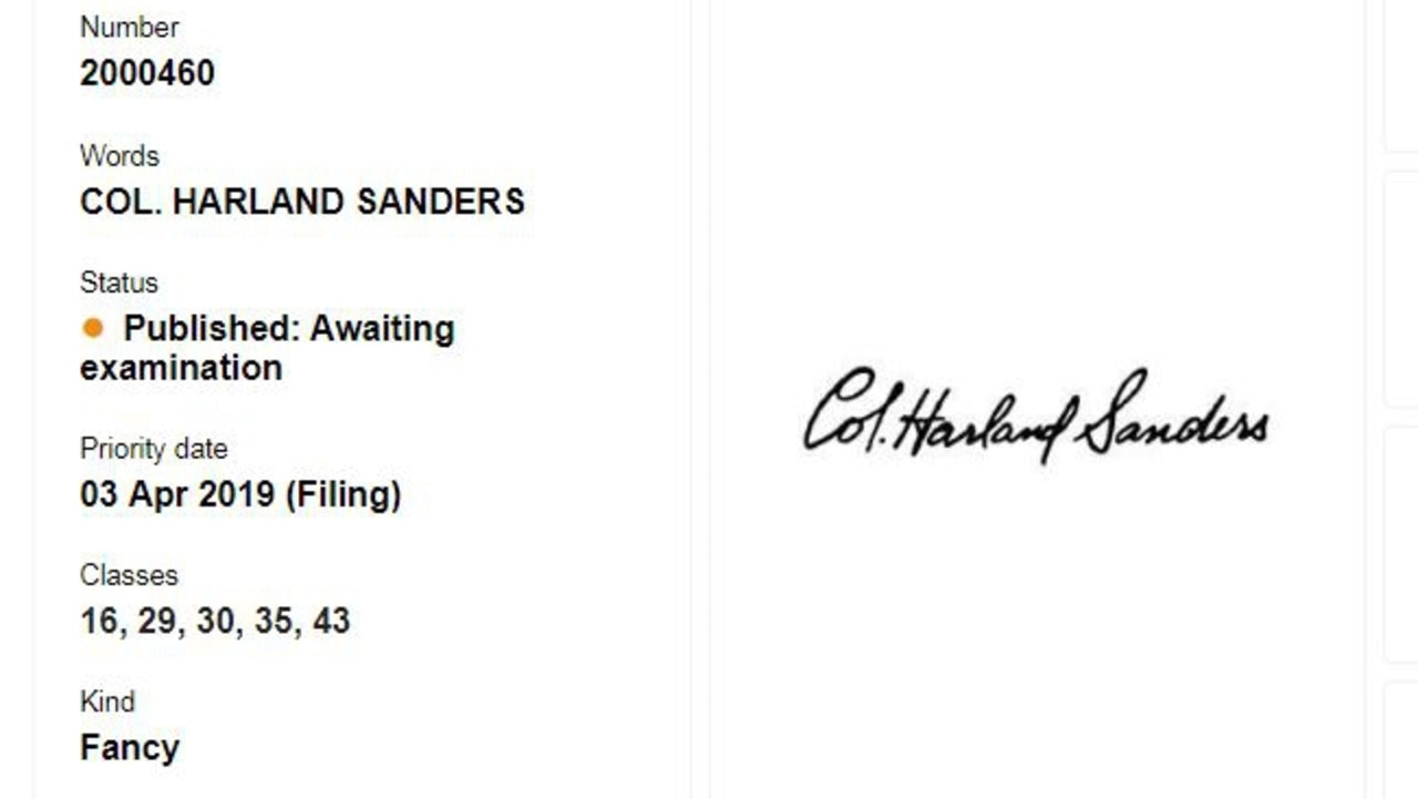 In a retro branding push, the company has applied to have Colonel Sanders' signature trademarked in Australia (above). Picture: IP Australia.
