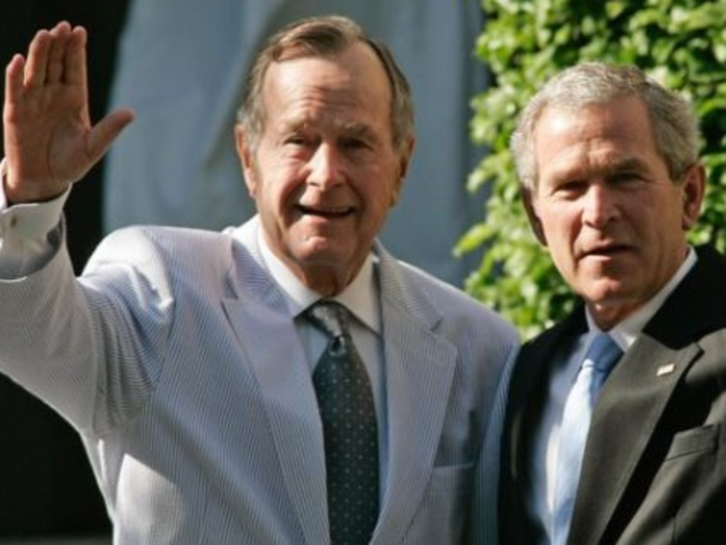 George H.W. Bush and his son George W. Bush. Picture: Lena Bell