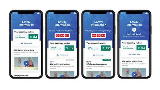 """7/9Virtual safety drillThe mandatory safety drill - described by Royal Caribbean itself as """"one of the least-loved, but most important, parts of a cruise holiday"""" - can now be done on your own  , in your own time. The feature is now available as an inclusion in the Royal Caribbean mobile app. Picture: Royal Caribbean"""