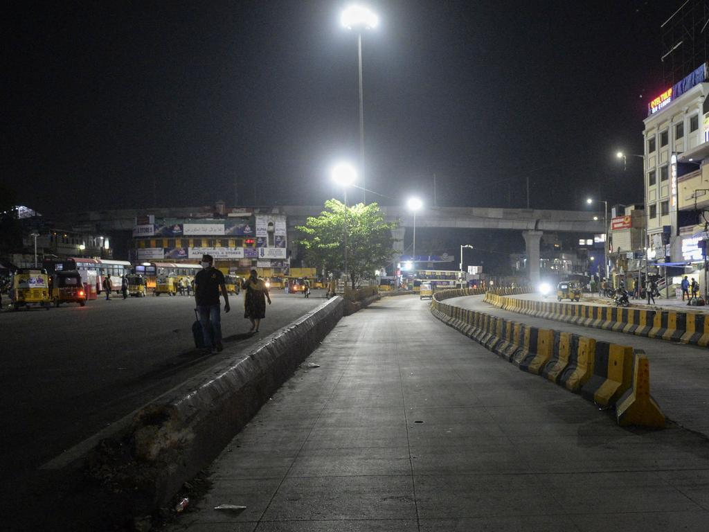 A quiet street in Hyderabad on Tuesday, April 20 after the state government imposed a night curfew. Picture: Noah Seelam / AFP