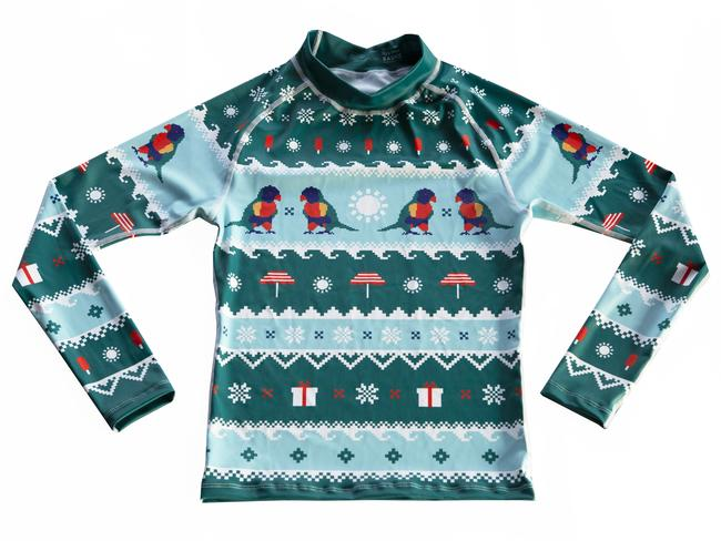 LORIKEET RASHIE, FROM $64.95 FROM THE UGLY XMAS RASHIE An Aussie take on the infamous Christmas jumper, this unisex rashie comes in adults and kids sizing and raises proceeds for Cancer Council Queensland. The ultimate stocking filler that gives back.