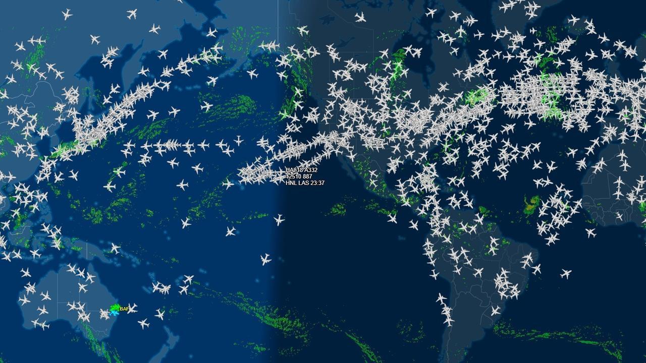 Radar image of flights across the world shows how Australia has fallen far behind.