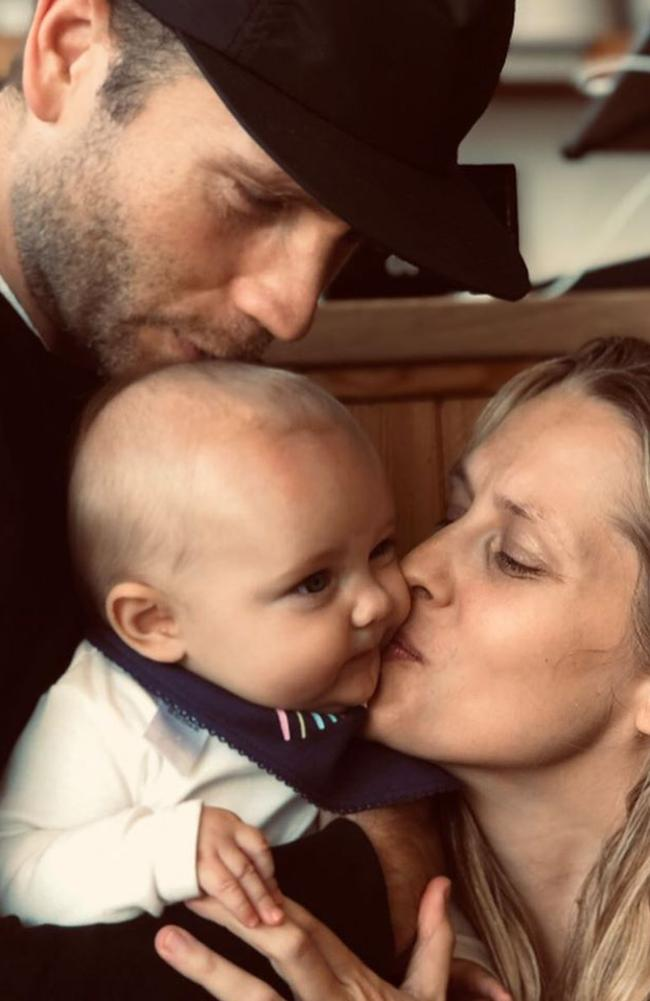 Teresa Palmer and Mark Webber with their baby daughter Poet Lake Palmer in 2019.