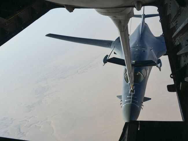 A US Air Force B-1 Bomber separates from the boom pod  en route to striking chemical weapons targets in Syria.