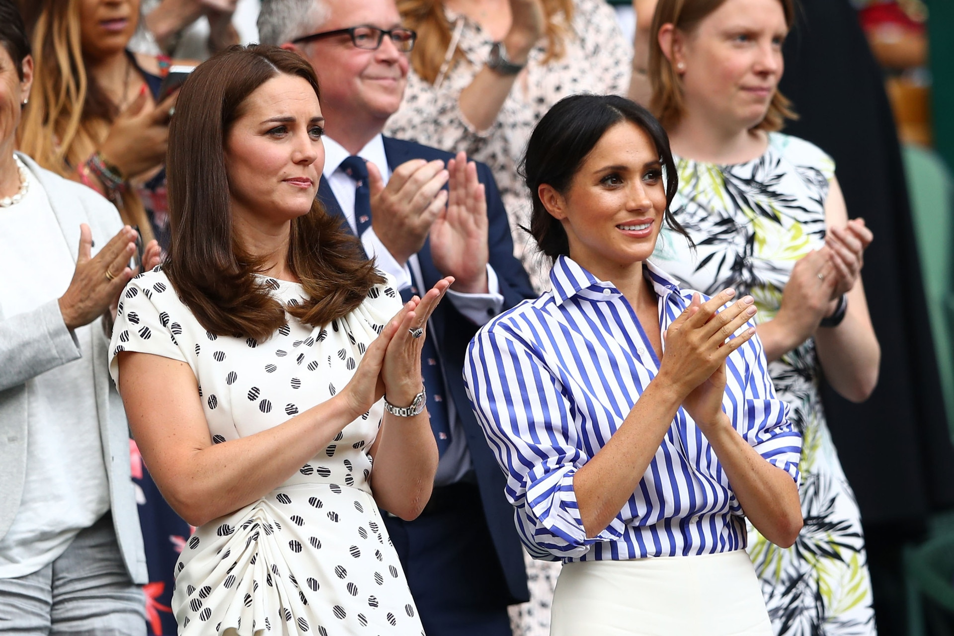 Meghan Markle and Kate Middleton were a study in contrasting casual dressing at the polo