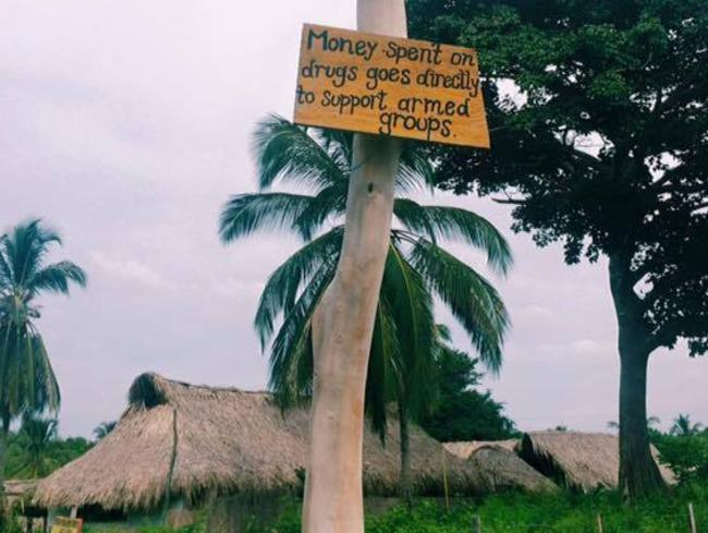 A sign on a tree in Minca, Colombia warning people drugs support violence. Picture: Supplied