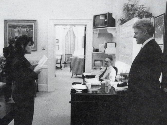 Former US President Bill Clinton and former White House intern Monica Lewinksy in a White House photo, dated November 1995.