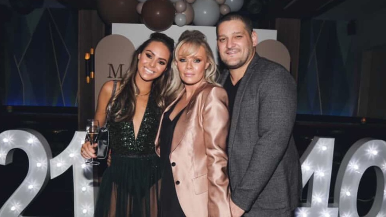 Mia Fevola with her parents, Brendan and Alex Fevola at her birthday party