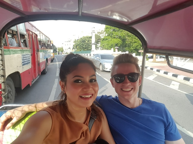 The couple in the tuktuk, which they believe was part of the scam. Picture: Dan Boland