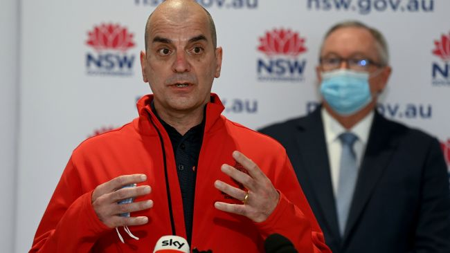 Royal Prince Alfred Hospital Co-Director of Intensive Care Dr Richard Totaro speaks to the media during Monday's COVID-19 update. Picture: NCA NewsWire/Bianca De Marchi