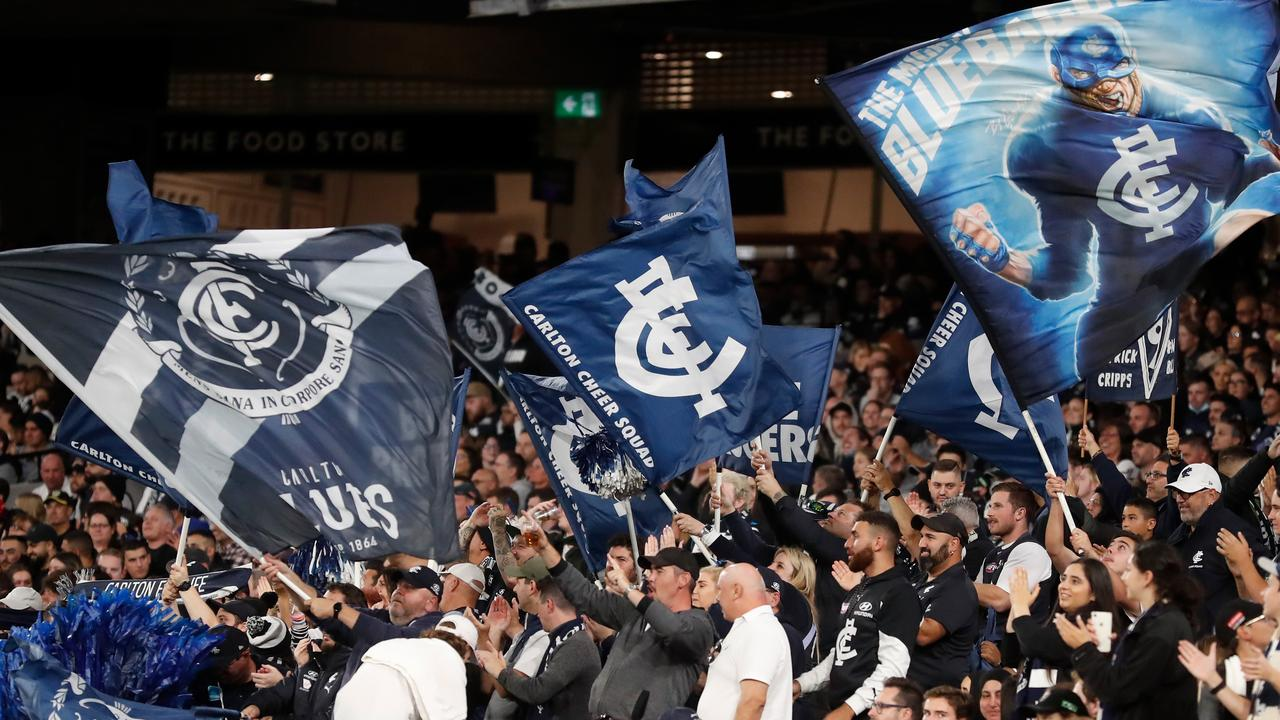 The club song of Carlton has been accused of having racist origins. Picture: Michael Willson/AFL Photos via Getty Images.