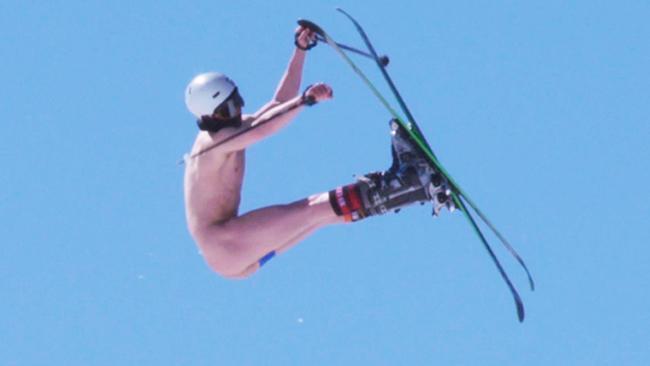 Naked ski jump fail