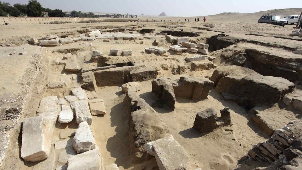 This undated photo released by the Egyptian Ministry of Antiquities shows the remains of a recently discovered temple for King Ramses II, in Abusir, southwest of Cairo. Picture: Egyptian Ministry of Antiquities via AP
