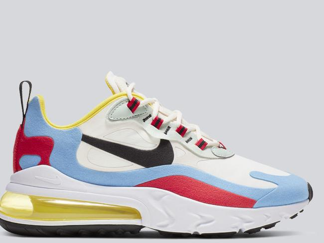 AIR MAX 270 REACT, $220 FROM NIKE Bright trainers are definitely having a moment right now and these Air Max have plenty of personality. Lightweight, they have a mid-sole that offers just the right amount of cushioning for your feet. And the breathable knit fabric is ideal if you're headed somewhere warm.