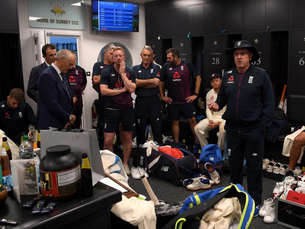 Coach Trevor Bayliss speaks to his team after a marathon summer of cricket.
