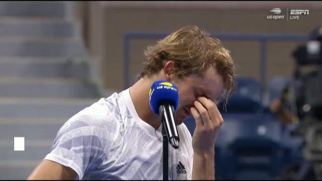 Distressed Zverev breaks down