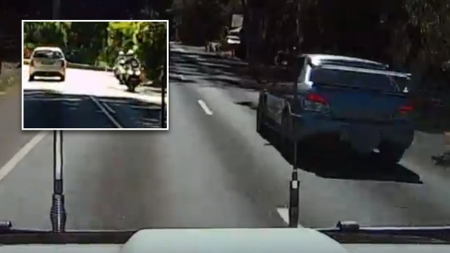 A driver passes as the approach a corner at Cudlee Creek before quickly pulling in to avoid on coming traffic. Inset: Dash cam reveals the oncoming riders to be police. Pictures: Supplied