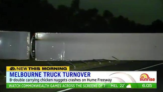 7 News: A truck carrying chicken nuggets has crashed in Melbourne
