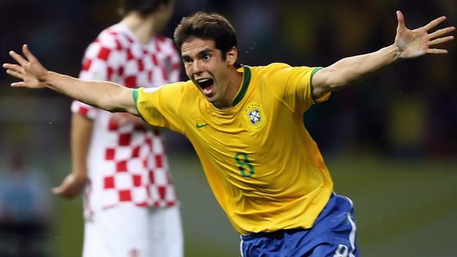 Brazilian midfielder Kaka celebrates.