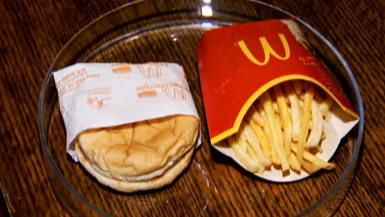 The McDonald's burger and fries, which just had their 10th birthday, with no sign of mould or decay. Picture: Central European News