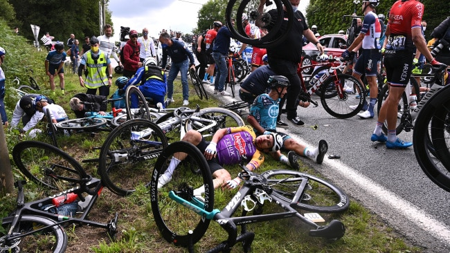 The carnage following a huge crash during the 108th Tour de France 2021.  Picture: Getty Images