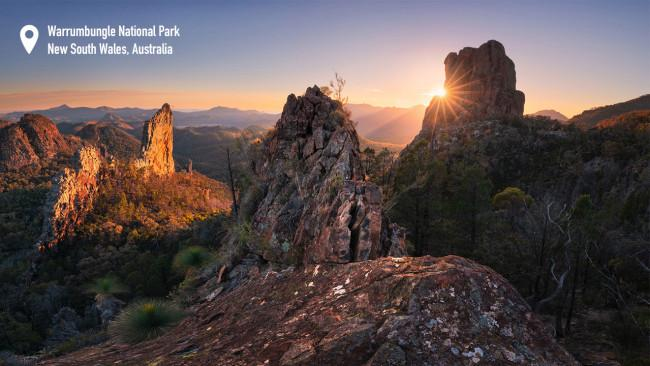 3/10 Warrumbungle National Park Bring your telescope and sense of wonder to Australia's first dark sky park. There are myriad camping options here. If you're a hiker, the walk-in Burbie Camp sits between Mount Exmouth and Belouger. There are barbecue facilities and a car park but you will need to bring your own drinking water, cooking water and firewood. The Gunneemooroo campground near Mount Annan is just as enticing and offers stunning stargazing. Like all national parks in NSW a $6 booking fee and park entry fees of $15 per vehicle applies. Photography: Destination NSW.