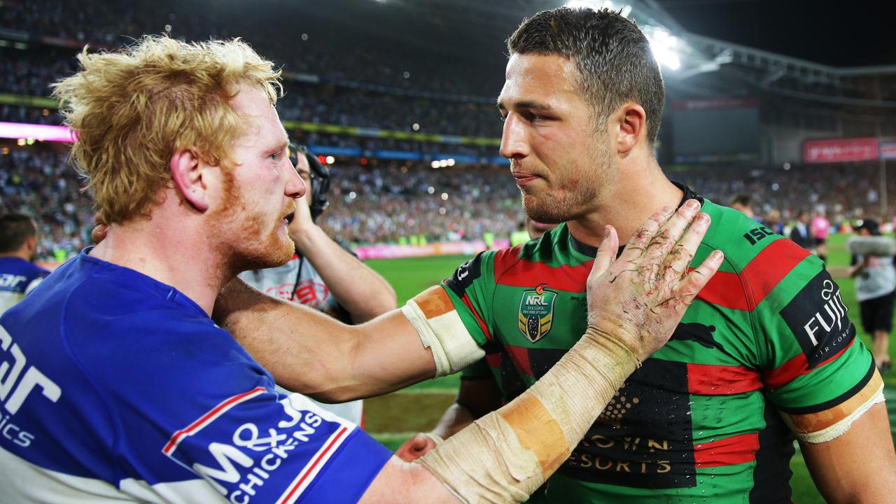 Rabbitohs star Sam Burgess relives infamous broken cheekbone from 2014 Grand Final tackle with James Graham